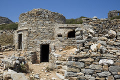 Ruins of the ancient city - Karpathos. Saria Island is a rocky, volcanic island along the northern edge of Karpathos - Greece Royalty Free Stock Photography