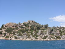 Ruins of the ancient city on the Kekova island, Turkey Stock Images