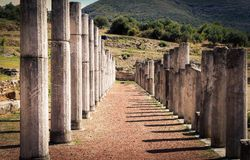 Ruins in ancient city of Messina, Greece. Ruins in ancient city of Messina, Peloponnes, Greece, vintage royalty free stock photos