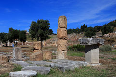 Ruins in Ancient city of Messina. Messinia, Peloponnes, Greece stock photo