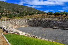 Ruins in Ancient city of Messina, Messinia, Peloponnes, Greece. Ruins of stadium in Ancient city of Messina, Messinia, light hdr royalty free stock photo