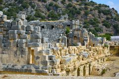 The ruins of the ancient city of Mira are the capitals of the Lycian kingdom. The ruins of the Greco-Roman Amphitheater. Demre, Turkey. The ruins of the ancient royalty free stock image
