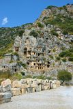 The ruins of the ancient city of Mira are the capitals of the Lycian kingdom. Tombs of the Lycians in the rock stock photo