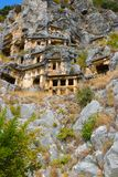 The ruins of the ancient city of Mira are the capitals of the Lycian kingdom. Tombs of the Lycians in the rock stock photos