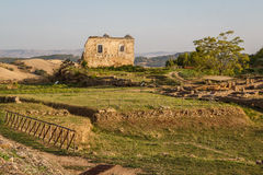 Ruins of the ancient city of Morgantina in the evening light Stock Photos