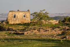 Ruins of the ancient city of Morgantina in the evening light Stock Images