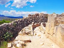 Ruins at the ancient city of Mycenae in Greece. The archaeological park at the ancient city of Mycenae in Greece Stock Photos