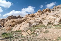 Ruins of the ancient city of Petra in Jordan. Petra is one of the New Seven Wonders of the World.  royalty free stock photo