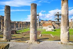 Ruins of ancient city Pompeii Stock Photos