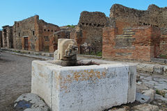 The ruins of the ancient city of Pompeii, Italy. The ruins of the ancient city of Pompeii, which was destroyed during the eruption of Mount Vesuvius in 79 AD Stock Photo