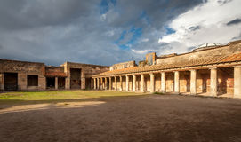 Ruins of ancient city Pompeii,Termas Stabiane Stock Photos