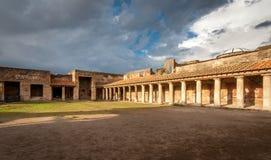 Ruins of ancient city Pompeii,Termas Stabiane Stock Photos