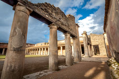 Ruins of ancient city Pompeii,Termas Stabiane Stock Images