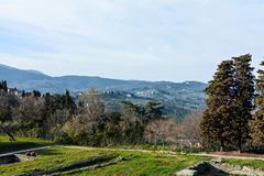 Ruins of the ancient city and the Roman theatre in Fiesole. Florence stock photos