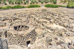 Ruins of ancient city. Nuraghe culture, Sardinia, Italy Royalty Free Stock Images