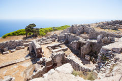 Ruins of ancient city. On santorini island Royalty Free Stock Image