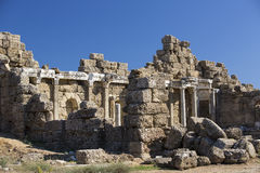 Ruins of the ancient city of Side Royalty Free Stock Images
