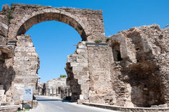 The ruins of  ancient city of Side in Turkey Stock Photo