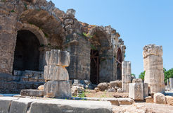 The ruins of ancient city of Side, Turkey Royalty Free Stock Images