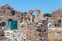 The ruins of ancient city of Side, Turkey Stock Images