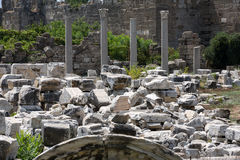 Ruins of ancient city in Side. Stock Photo