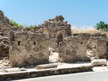 Ruins of ancient city in Side. Stock Photos