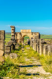 In the ruins of ancient city Volubilis - Morocco. In the ruins of ancient city Volubilis in Morocco Royalty Free Stock Images
