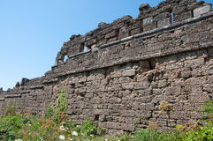 Ruins of ancient city wall in Side, Turkey Royalty Free Stock Image