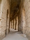 Ruins of ancient colosseum in North Africa. Ruins of ancient colosseum, El Jem, Tunisia stock image