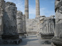 Ruins of ancient columns. Photo of ancient columns lies in ruins Stock Photo