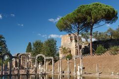 Ruins of the ancient complex of Hadrian Villa, Tivoli Royalty Free Stock Images