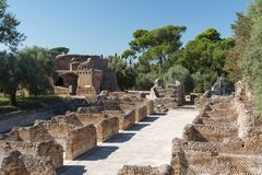 Ruins of the ancient complex of Hadrian Villa, Tivoli Royalty Free Stock Photography