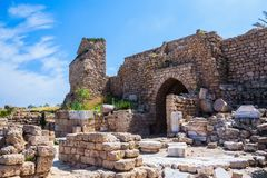Ruins of ancient defensive walls royalty free stock photo
