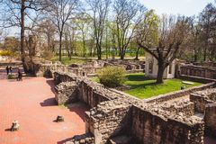 The ruins of an ancient Dominican monastery in the central park on the Margaret island in Budapest, Hungary stock photos