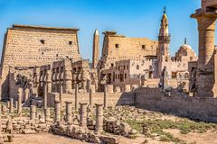 Ruins of the ancient Egyptian city of Luxor on the banks of the Nile stock photos