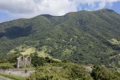 Ruins of ancient fort on the island of St Kitts Stock Photos