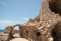 The ruins  of the ancient fortress of Acre in Israel on the Mediterranean Sea Royalty Free Stock Images