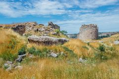 The ruins of ancient fortress Calamita in Inkerman, Crimea.  Stock Image