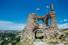 The ruins of ancient fortress Calamita in Inkerman, Crimea.  Royalty Free Stock Photography