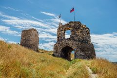 The ruins of ancient fortress Calamita in Inkerman, Crimea.  Stock Photo
