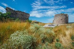 The ruins of ancient fortress Calamita in Inkerman, Crimea.  Royalty Free Stock Photos