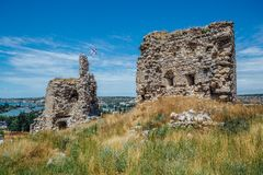 The ruins of ancient fortress Calamita in Inkerman, Crimea.  Royalty Free Stock Image