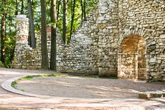 Ruins of an ancient fortress in the forest Stock Photo