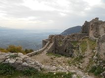 Ruins of Ancient Fortress, Greece stock image