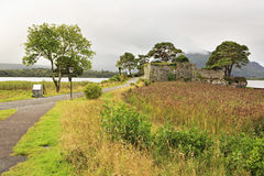 Ruins of an ancient fortress on Lough Leane Lower Stock Photo