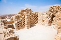 Ruins of ancient fortress Masada. Stock Photo