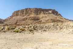 Ruins of the ancient fortress of Massada on the mountain near the dead sea in southern Israel.  stock photo