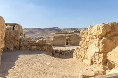 Ruins of the ancient fortress of Massada on the mountain near the dead sea in southern Israel Stock Photos