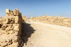 Ruins of the ancient fortress of Massada on the mountain near the dead sea in southern Israel Stock Images