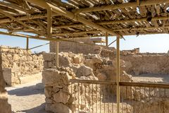 Ruins of the ancient fortress of Massada on the mountain near the dead sea in southern Israel Stock Image